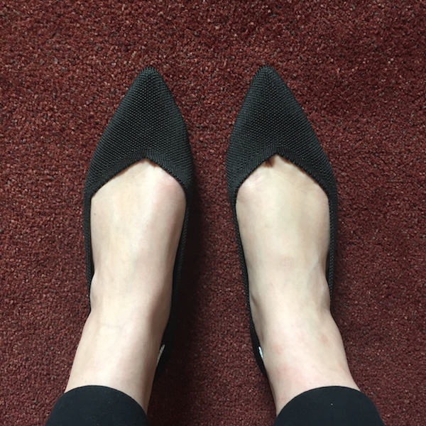 Rothy's pointed flats are stylish and sustainable shoes.