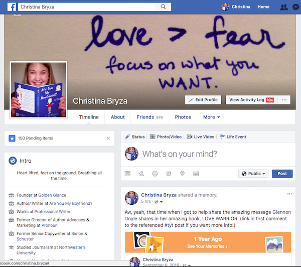 A snippet of my Facebook home base
